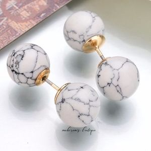 Marble Double Studs Earrings